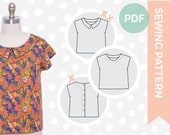Pdf sewing pattern - 1950s blouse sewing pattern - Multi-size indie digital sewing pattern - Kimono sleeve, peter pan collar, back opening