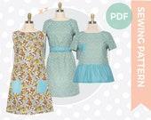 Pdf sewing pattern - 1960s dress sewing pattern - Multi-size indie digital sewing pattern - Tunic dress with pockets and t-shirt with peplum