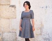 Circle skirt dress in wool tweed - Square neck dress - Elbow sleeve swing dress - Retro 50s dress for women - Tweed vintage dress