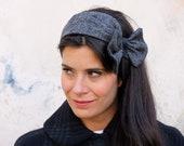 Top knot headband – Tweed wool head wrap – Ear warmer band – Pinup head wrap – Womens headband –50s headband - Vintage style warm headband