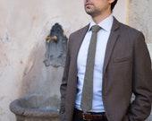 Hipster men's tie handmade in pure wool - Beige houndstooth skinny tie - Beige woolen men's tie - Skinny tie for men - Houndstooth necktie