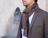 Cashmere men's scarf - Luxury scarf for men 100% cashmere - Brown men's scarf - OOAK