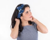 Vintage inspired knot headband handmade in pure cotton -Blue floral headband -50s retro pinup headband - Cotton headband - 1950s headband