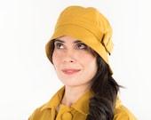 Mustard yellow oilskin cloche hat - 1920s cloche hat - Water resistant cloche hat with button - Mustard yellow retro hat - Vintage style hat