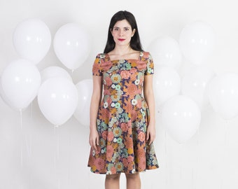 1950s dress - Circle skirt dress - Floral dress with square neck - Cotton dress summer - Swing dress - Retro 50s dress for women