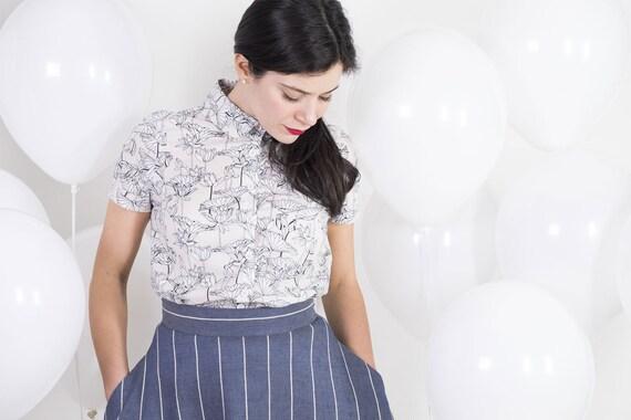 waist 1950s skirt retro skirt skirt Vintage SALE SIZE Jeans skirt skirt cotton S Full Linen circle circle skirt swing skirt High gtOqS1