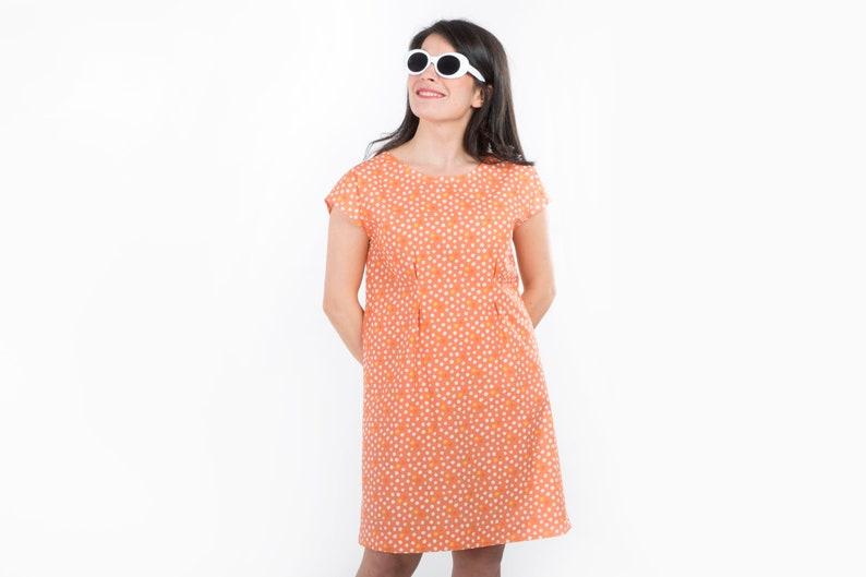 d3936f57855f Polka dot shift dress Minimal cotton dress Living coral   Etsy