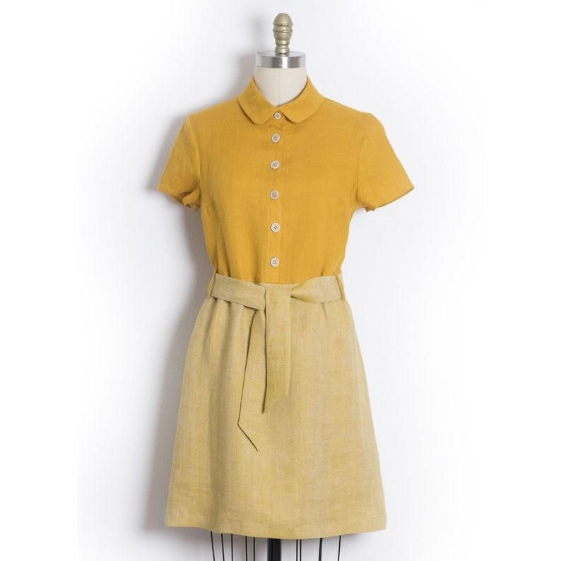 7ad5f1f57 Linen dress Yellow shirt dress Vintage shirtwaist dress   Etsy