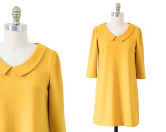 SALE 30% OFF! Yellow dress - Cashmere shift dress - 1960s dress - Vintage dress -60s dress -Retro yellow dress -Handmade dress -Casual dress