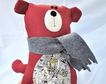 Red Teddy Bear Soft Toy, Handmade Teddy, Stuffed Animal, Fabric Soft Toy Bear , Nursery Gift, Baby Gift, Home Living, Birthday, Baby Shower