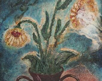 Vintage oil painting still life flowers
