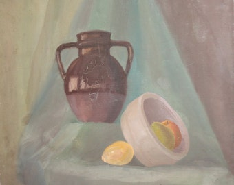 Vintage oil painting still life bowl