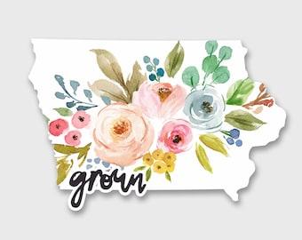 Iowa Decal, Iowa Sticker, Iowa State, Iowa Bumper Sticker, Iowa Art, Iowa Map, Car Decals for Women, Car Decal, Car Stickers, Vinyl Sticker