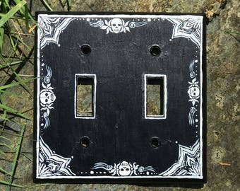 Black and White Skull and Flowers design light switch cover / wall plate / switchplate cover, hand painted double switch for the home