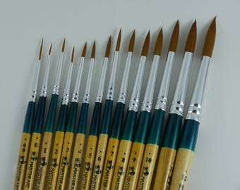 Set of 14 Round Water Color Paint Brush Set Professional Artist, water colorbrush, #00-12,  high Quality paint artist brush