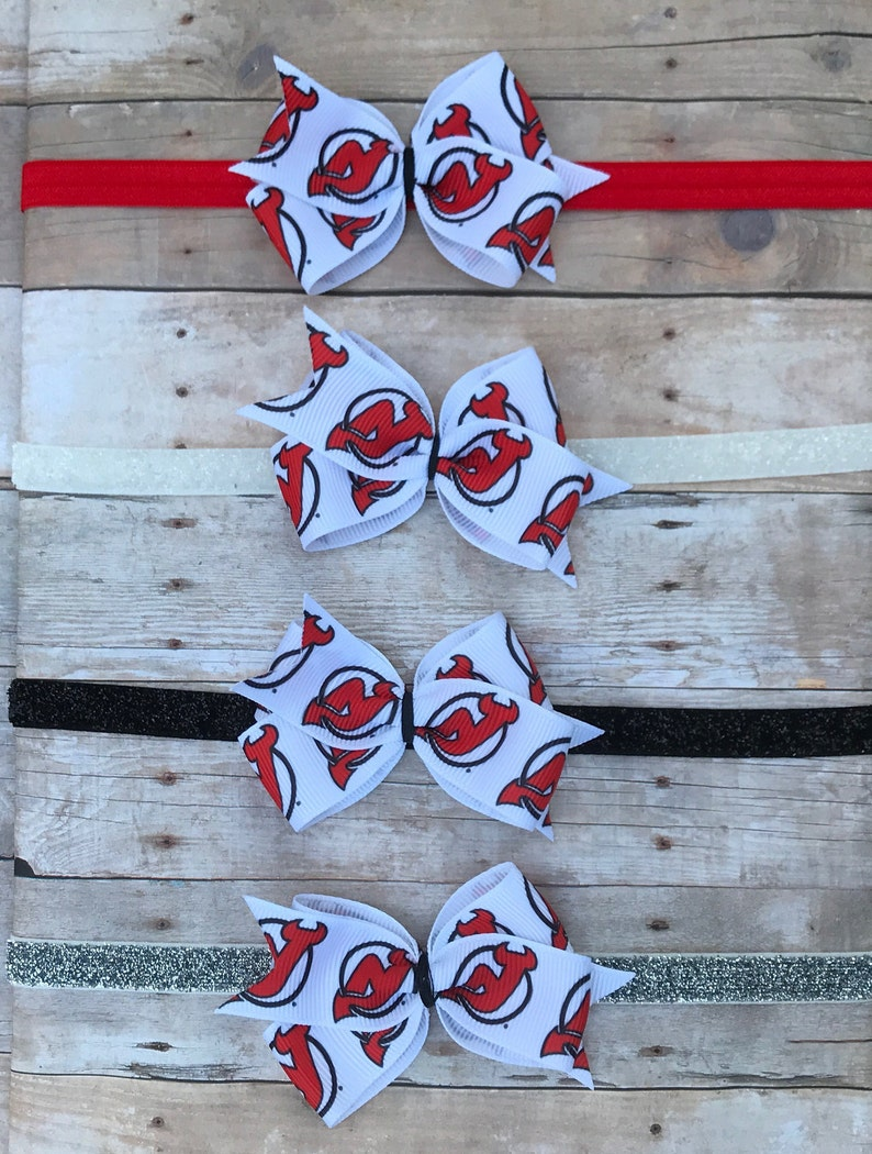 on sale f9f0b 9aeb3 New Jersey Devils Hair Bow // Hockey // NJ Devils // NHL // Hockey // NJ  Devils Headband // Devils Bow // Baby Headband // Toddler Clip