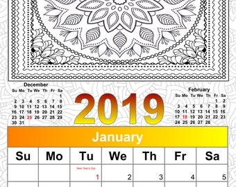 printable 2019 calendar coloring calendar 2019 calendar color yourself instant download printable coloring calendar christmas coloring