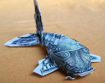 Dollar Bill Origami KOI FISH Japanese Charm 3D Small Money Sculpture Miniature Gift Zodiac Pisces Sign Figurine Decor