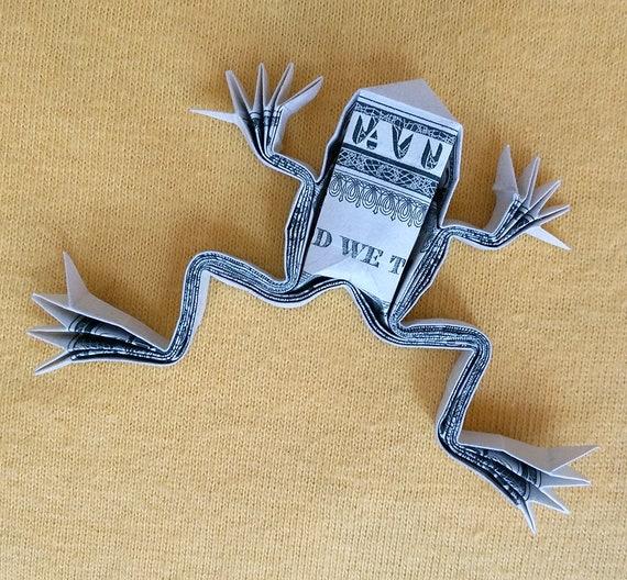 Dollar Origami Holz Frog 3d Skulptur Geld Kunst Figur Gefaltet Real 1 Dollar Bill Miniatur Figur Home Decor Handgemachte Tier Kleine Statue