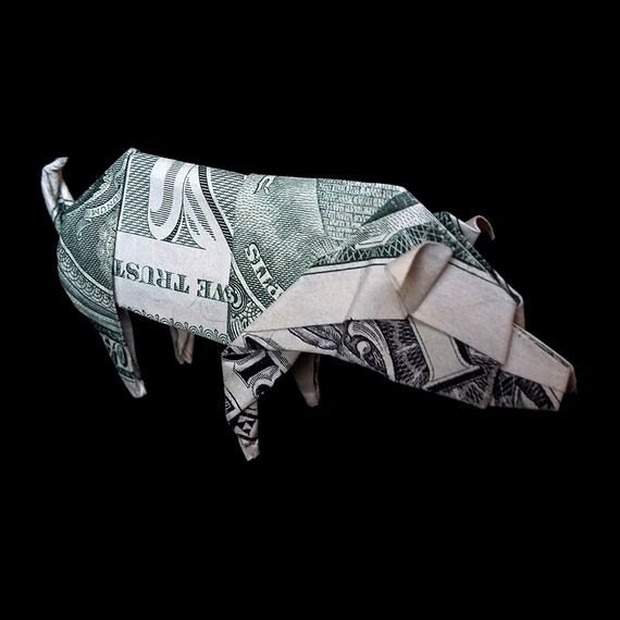 Dollar Origami Pig Sculpture Money Mini Hog Miniature Boar 3d Etsy