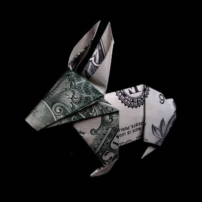 Origami Dollar Mini Rabbit Sculpture Small Hare Money Art Etsy