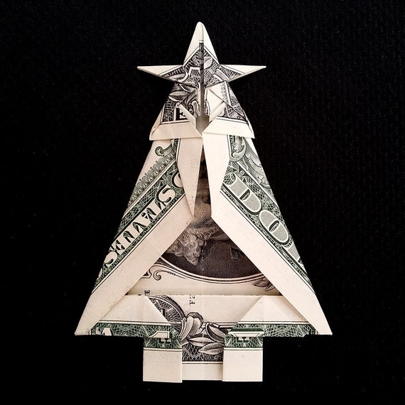 50 - Real One Dollar Bill Origami Art Miniature CHRISTMAS TREE With Etsy