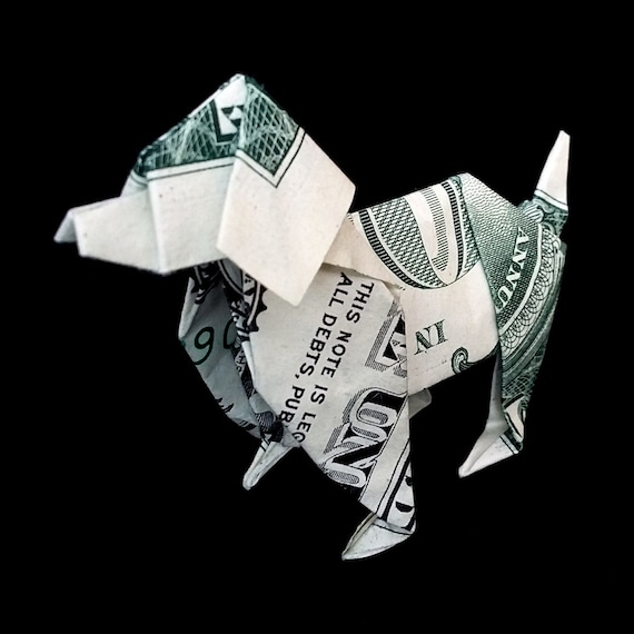 Dollar Origami Dog Lover Gift Miniature 3d Pet Handmade Animal Etsy