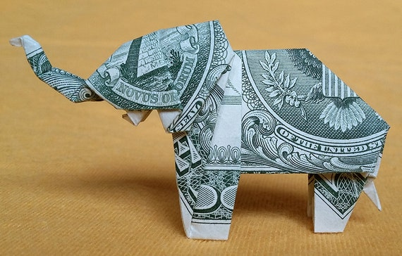 Dollar Bill Origami Elephant Folding Guide - The Daily Dabble | 364x570
