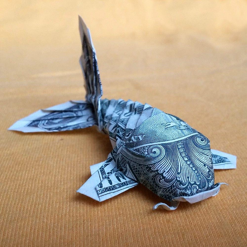 Dollar bill origami koi fish japanese charm 3d small money for Origami koi fish
