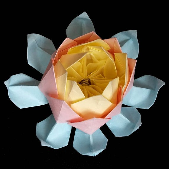 Origami lotus paper flower art gifts sculpture water lily etsy image 0 mightylinksfo