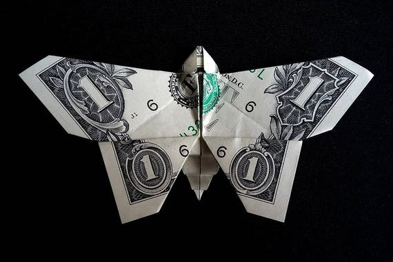 How to Make a Money Origami Butterfly Tutorial DIY at Home - YouTube | 381x570