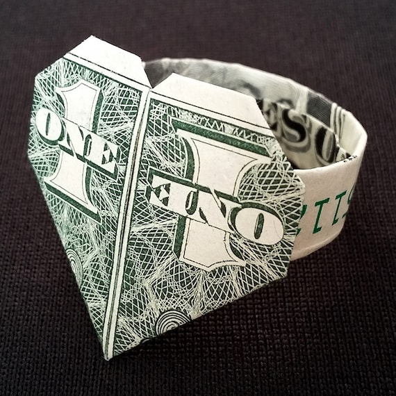 Origami Heart And Ring Dollar Bill One Dollar Stock Image - Image ... | 570x570