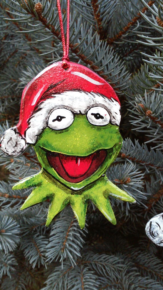 Hand Painted Wood Kermit The Frog Christmas Ornament