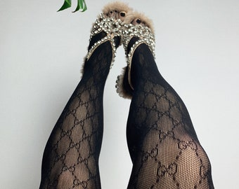 7c8abcbeff0 Gucci Monogram Style Designer Lace Tights   Pantyhose   Stockings   Free UK  Delivery