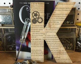 """Lunar Chronicles - Cinder, 8"""", Aged, Book Page, Wall Letter - Custom Made"""