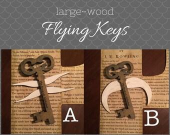Flying Key Embellishment - Wood - Large