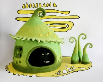 Сat house Cat bed Сat cave Small dog hous Pet bed Home decor Felted Green Yellow Lime