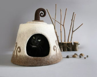 Cat cave, Cat bed, Brown, White, Beige, Cat house, Pet house, Felt cat cave, Natural wool, Eco friendly, Fantasy cat cave OOAK