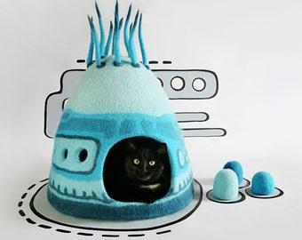Cat cave, Cat bed, Cat house, Blue, Turquoise, Pet house, Felt cat cave, Natural wool, Eco friendly, Fantasy cat cave