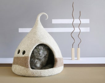 Cat cave Cat house Cat bed Scandinavian Style Nordic decor Brown Beige Natural wool Eco friendly  OOAK