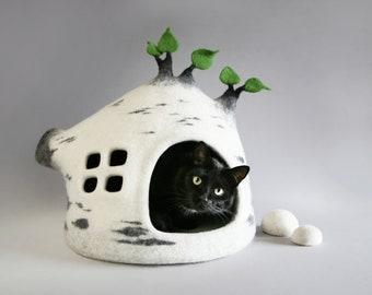 Cat cave, Cat bed, Cave house, Felt, Cat cave felt, Felted, Natural sheep wool, Eco friendly, Hand made, OOAK, Unique