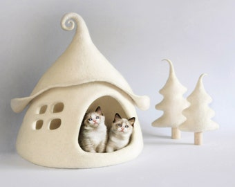 Cat house, Cat cave, Cat bed, Cat cave wool, Cat cave felt,  Felted cat house, Fairy house, Sheep wool, Eco friendly, Christmas gift