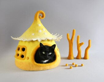 Cat cave, Cat bed,  Felted cat house, Yellow Pet house, Felt cat cave, Natural wool, Eco friendly, Fantasy cat cave, Fairy house  ooak gift