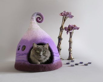 Cat bed Cat cave Cat house Small dog house Purple, lavender,Lilac, Nordic style cat cave, Natural wool, Eco friendly, Fantasy cat cave, OOAK