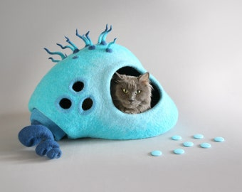 Cat cave  cat house cat bed Sea monster Stone  Fantasy  OOAK cat house Turquoise  Eco friendly OOAK  Gift idea Exclusive  whimsical decor