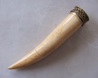 Very Large Inlaid Coral Red Bone Tusk Pendant ~ 1 Piece ~ Silver Metal Top ~ 4.5 Length ~ Ethnic Tribal Jewelry Supply
