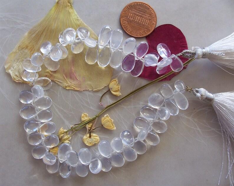 AAA Ice Quartz Gemstone Smooth Teardrop Briolette Beads ~ 8 Strand ~ 8mm-10mm