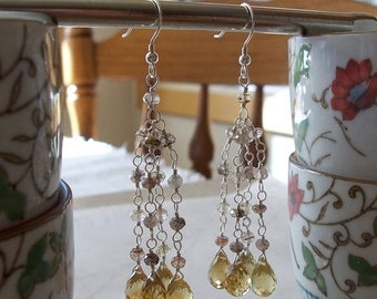 "ON SALE Citrine & Rutilated Quartz Gemstone Faceted Multi Dangle Cascade Cluster Chandelier Earrings ~ Sterling Silver ~ 3"" Length"