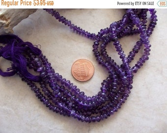 """ON SALE Amethyst Gemstone Small Smooth Button Rondelle Nugget Beads ~ 14"""" Strand ~ 4mm-5mm"""