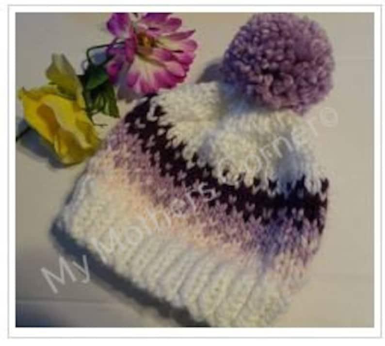 Fairisle Hat Pattern Bulky Hat Child to Adult size PDF image 0